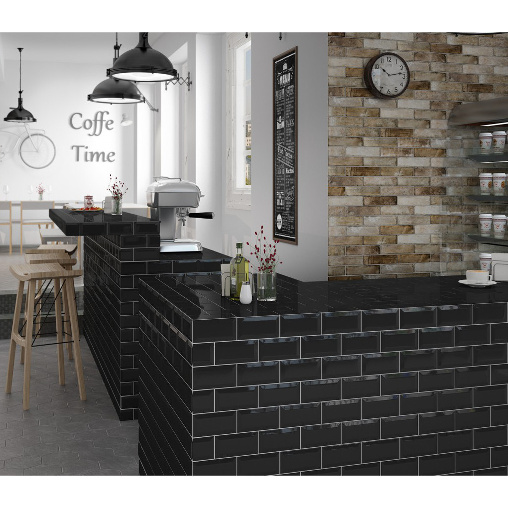 wandfliese metro tile farbe schwarz gl nzend 7 5 x 15cm ceratrends. Black Bedroom Furniture Sets. Home Design Ideas